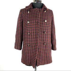 TopShop Houndstooth Velvet Tie Front Coat Size 4